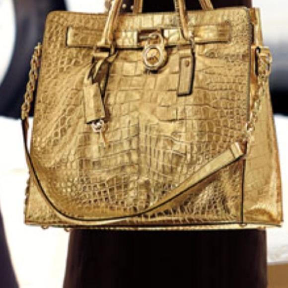 1f591e4a4589 Michael Kors large embossed gold hamilton bag. M_5af73058c9fcdfe2c7fcc7f8